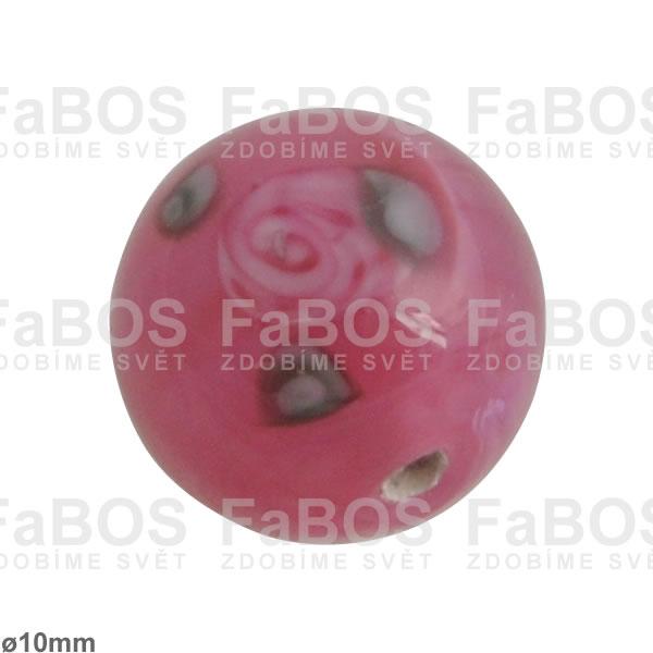 Vinuté korálky Korálek vinutý růžová kulička 10mm - FaBOS