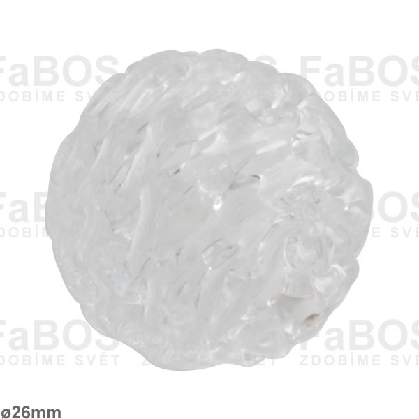 Vinuté korálky Korálek vinutý bílá koule - FaBOS