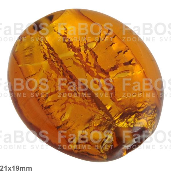 Vinuté korálky Korálek vinutý oranžový /stříbro velký - FaBOS