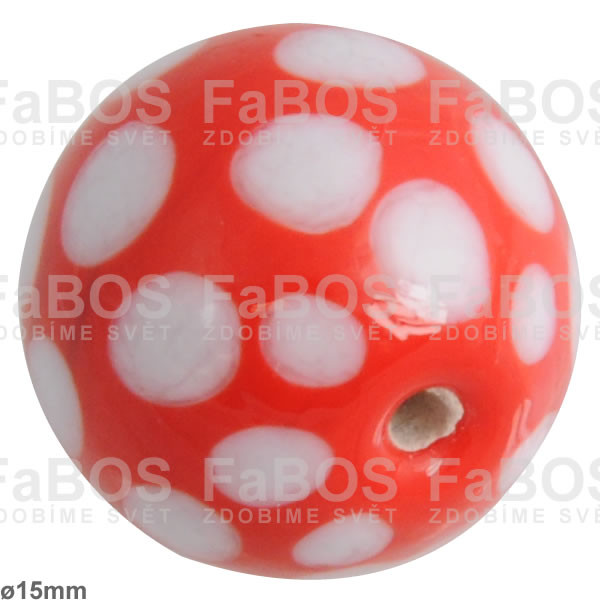 Vinuté korálky Korálek vinutý červeno-bílá kulička tečky - FaBOS