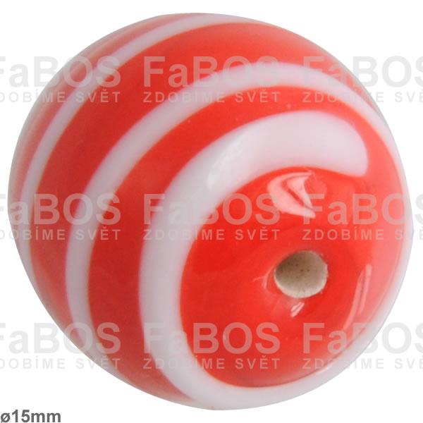 Vinuté korálky Korálek vinutý červeno-bílá kulička pruhy - FaBOS