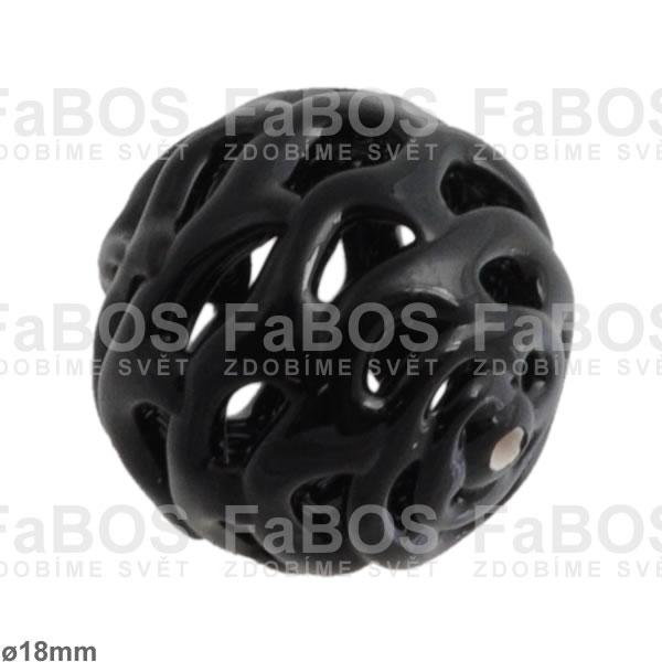 Vinuté korálky Korálek vinutý černá kulička dutá - FaBOS
