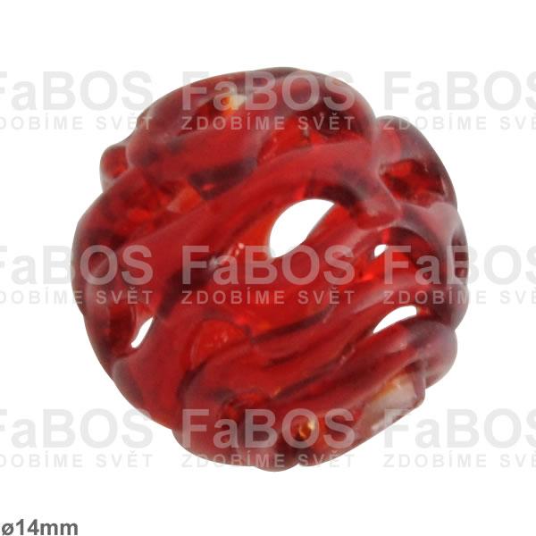Vinuté korálky Korálek vinutý červená kulička malá dutá - FaBOS