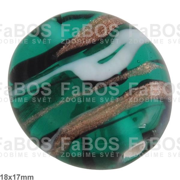 Vinuté korálky Korálek vinutý zelená tmavá čočka - FaBOS