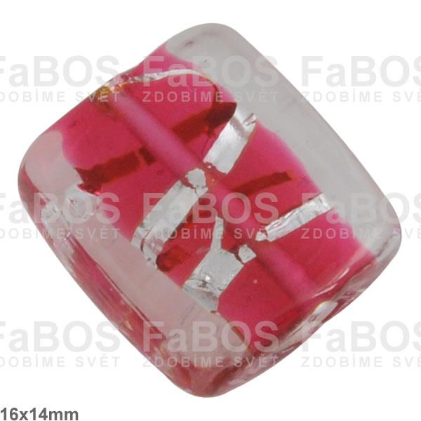 Vinuté korálky Korálek vinutý červený čtvereček stříbro - FaBOS