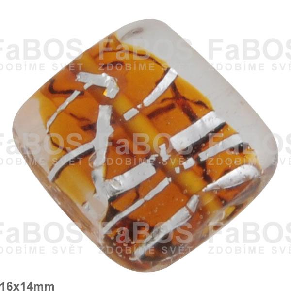 Vinuté korálky Korálek vinutý oranžový čtvereček stříbro - FaBOS