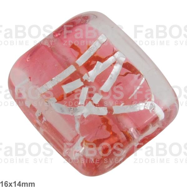 Vinuté korálky Korálek vinutý růžový světlý čtvereček - FaBOS