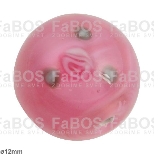Vinuté korálky Korálek vinutý růžová kulička 12mm - FaBOS