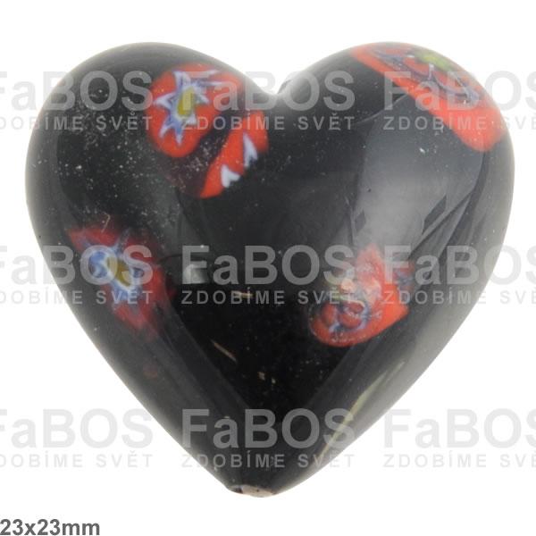 Vinuté korálky Korálek vinutý černé srdce kytička - FaBOS