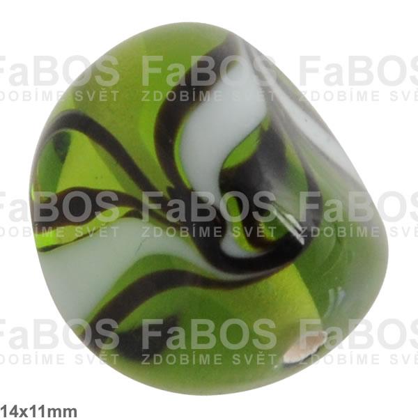 Vinuté korálky Korálek vinutý zelený trojhránek - FaBOS