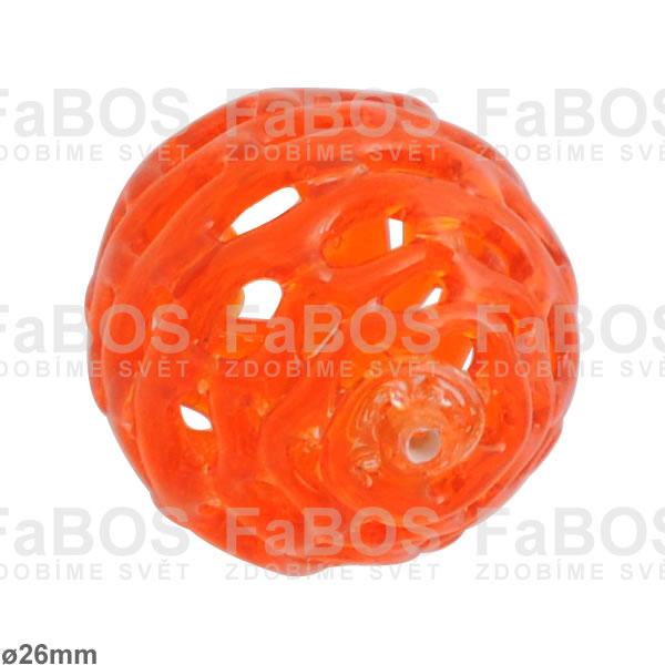 Vinuté korálky Korálek vinutý oranžová tmavá koule - FaBOS