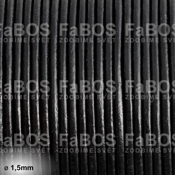 Kůže Kulatá kůže 1,5mm černá - FaBOS