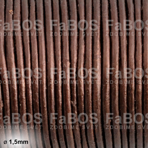 Kůže Kulatá kůže 1,5mm hnědá bronzová - FaBOS