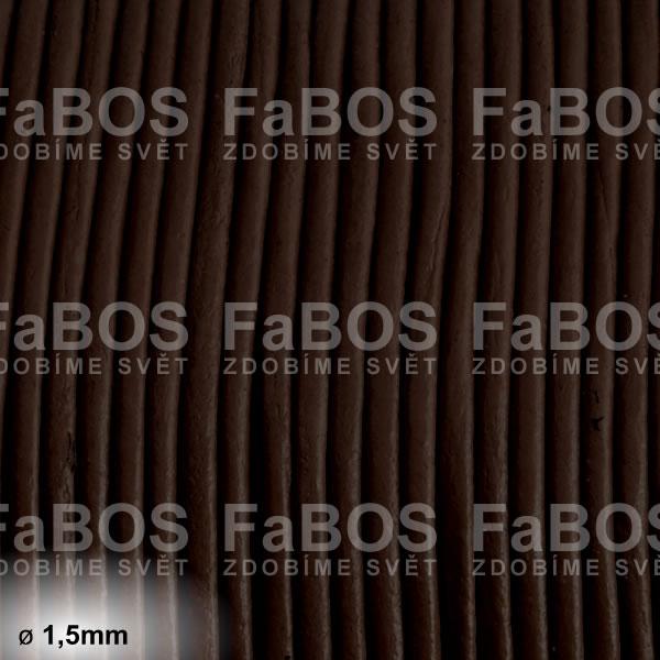 Kůže Kulatá kůže 1,5mm hnědá tmavá - FaBOS