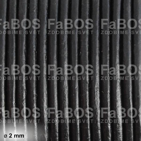 Kůže Kulatá kůže 2 mm černá - FaBOS
