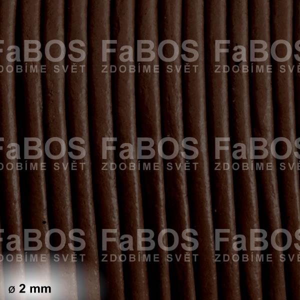 Kůže Kulatá kůže 2 mm hnědá tmavá - FaBOS