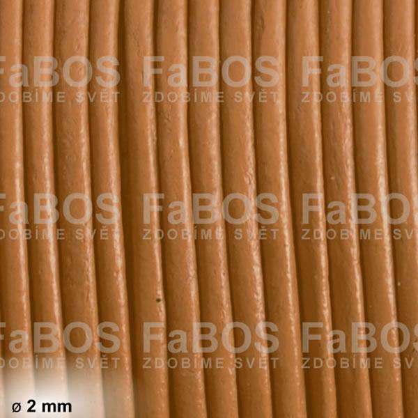 Kůže Kulatá kůže 2 mm hnědá světlá - FaBOS