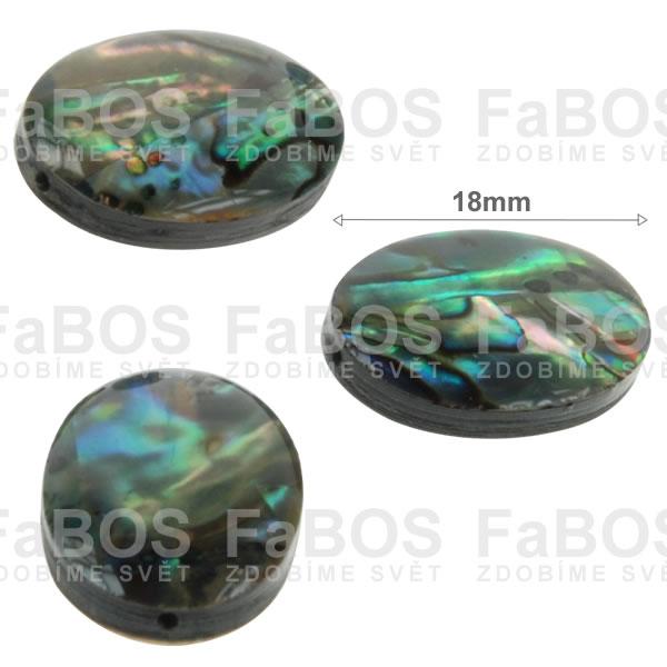 Perleť Perleť ovál zelená 18x13mm - FaBOS