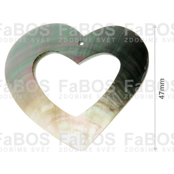 Perleť Perleť srdce s otvorem 47mm dírka - FaBOS