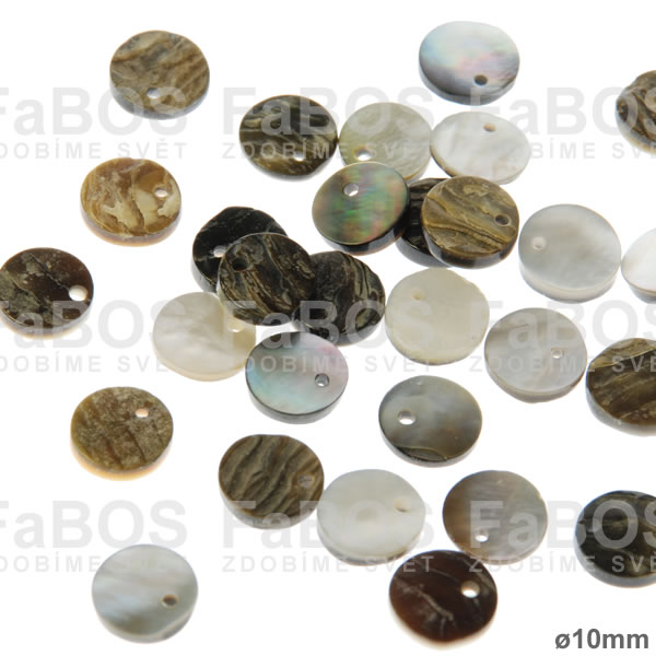 Perleť Perleť kulatá průměr 10mm dírka - FaBOS