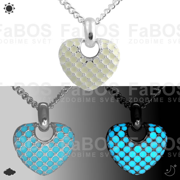 Lumines Jewel - svítící bižuterie Náhrdelník Lumines Jewel Srdíčko stříbro - FaBOS