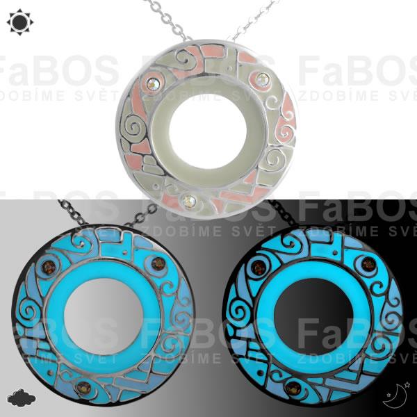 Lumines Jewel - svítící bižuterie Náhrdelník Lumines Jewel Kruh vitráž stříbro - FaBOS