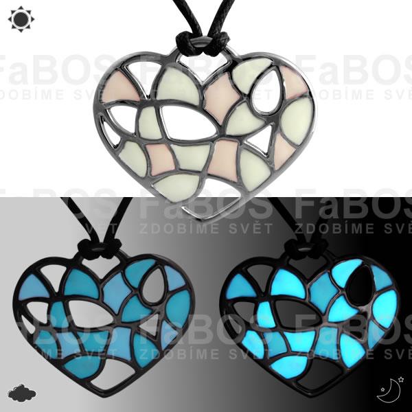 Lumines Jewel - svítící bižuterie Náhrdelník Lumines Jewel Srdce vitráž 2 barvy rut - FaBOS