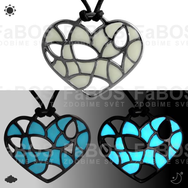 Lumines Jewel - svítící bižuterie Náhrdelník Lumines Jewel Srdce vitráž ruthenium - FaBOS