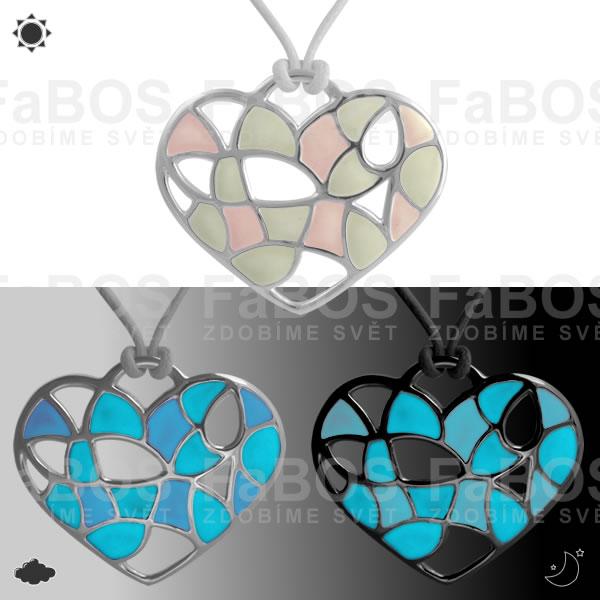 Lumines Jewel - svítící bižuterie Náhrdelník Lumines Jewel Srdce vitráž 2 barvy stř - FaBOS