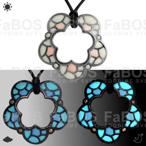 Lumines Jewel - svítící bižuterie Náhrdelník Lumines Jewel Kytka vitráž 2 barvy rut - FaBOS