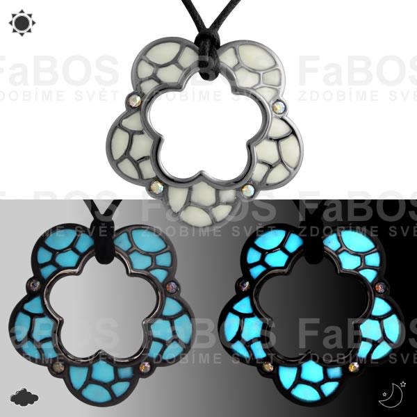 Lumines Jewel - svítící bižuterie Náhrdelník Lumines Jewel Kytka vitráž ruthenium - FaBOS