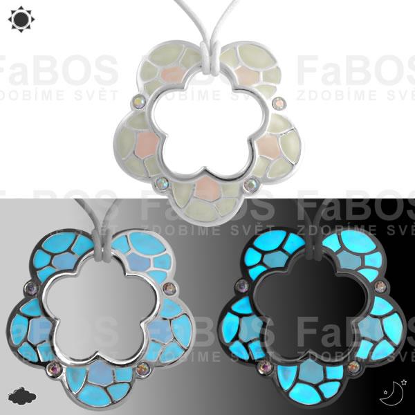Lumines Jewel - svítící bižuterie Náhrdelník Lumines Jewel Kytka vitráž 2 barvy stř - FaBOS