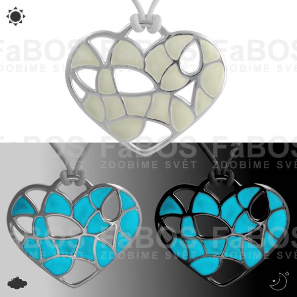 Lumines Jewel - svítící bižuterie Náhrdelník Lumines Jewel Srdce vitráž stříbro - FaBOS