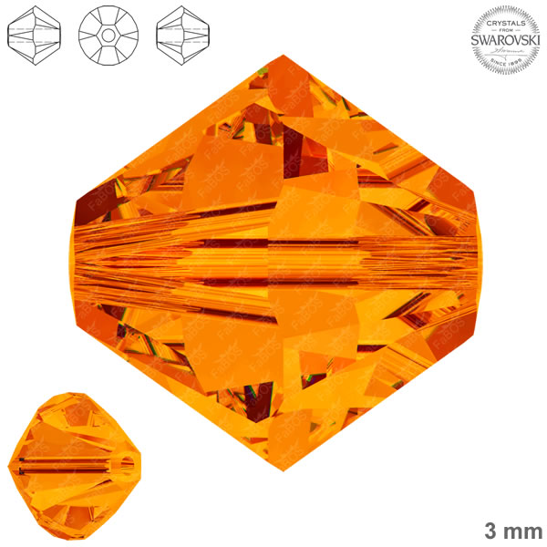 Swarovski Xilion Bead 5328 Swarovski Xilion Bead Tangerine 3mm - FaBOS