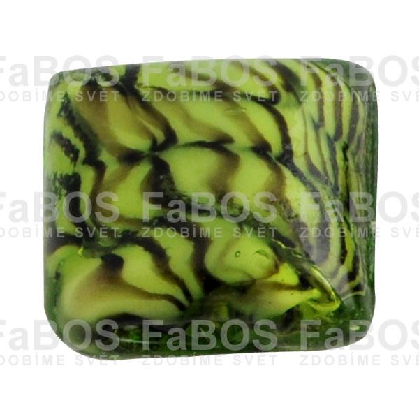 Vinuté korálky Korálek vinutý světle zelený čtvereček - FaBOS