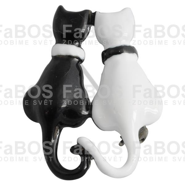 Litinové brože Litinová brož Kočičí kamarádky černobílé - FaBOS