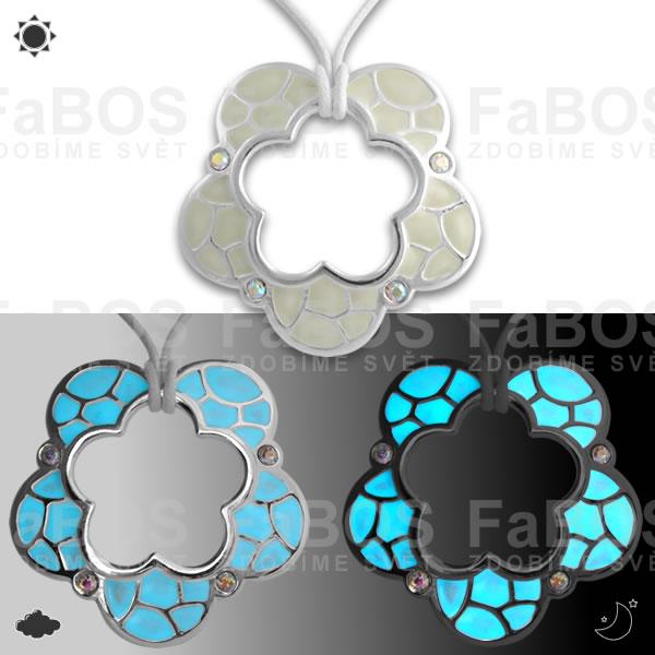 Lumines Jewel - svítící bižuterie Náhrdelník Lumines Jewel Kytka vitráž stříbro - FaBOS