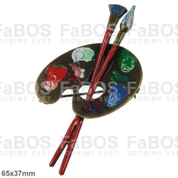 Litinové brože Litinová brož malířská paleta červená - FaBOS