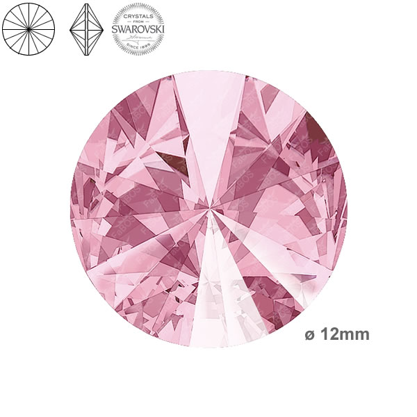 Swarovski Rivoli 1122 Swarovski Rivoli Light rose 12mm - FaBOS