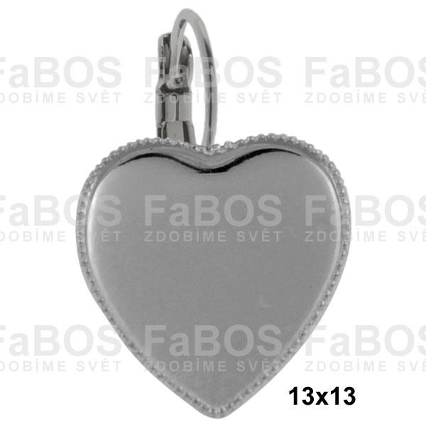 Lůžka na pryskyřici Lůžko pryskyřice srdce náušnice klapka 13x13mm - FaBOS