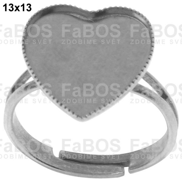 Lůžka na pryskyřici Lůžko pryskyřice srdce prsten 13x13mm - FaBOS