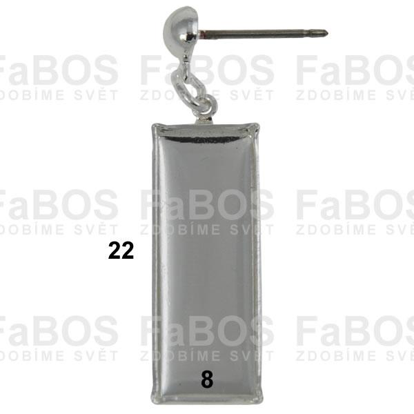 Lůžka na pryskyřici Lůžko pryskyřice obdélník náušnice 22x8 - FaBOS