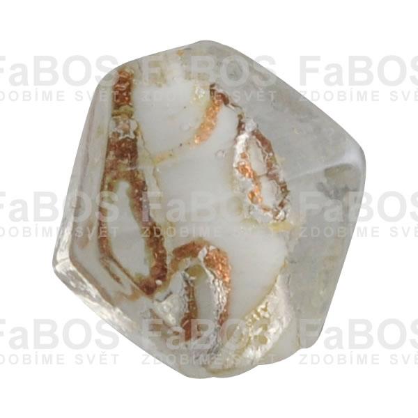 Vinuté korálky Korálek vinutý bílý osmistěn - FaBOS