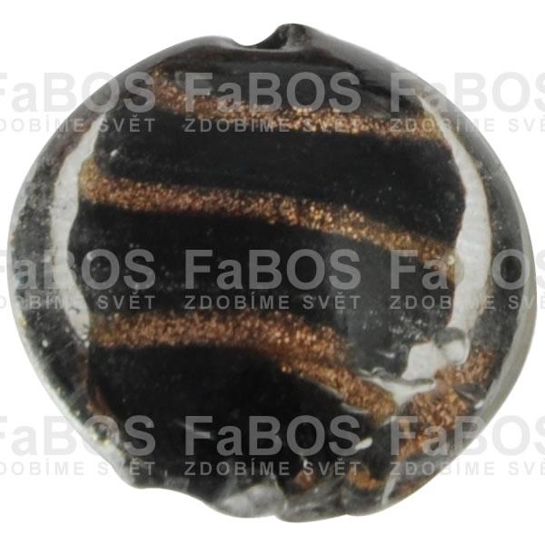 Vinuté korálky Korálek vinutý černá čočka zlatá A - FaBOS