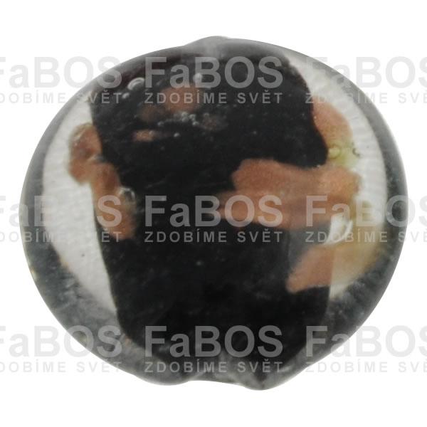 Vinuté korálky Korálek vinutý černá čočka - FaBOS