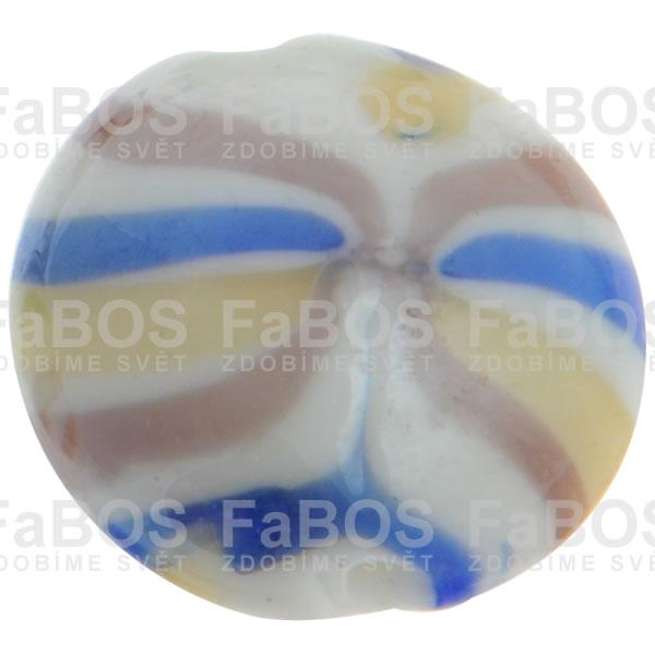 Vinuté korálky Korálek vinutý béžový pruhovaný - FaBOS