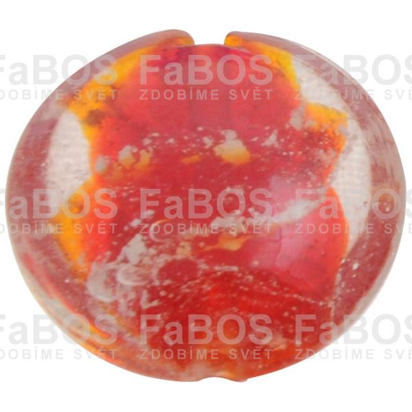 Vinuté korálky Korálek vinutý červená čočka velká - FaBOS