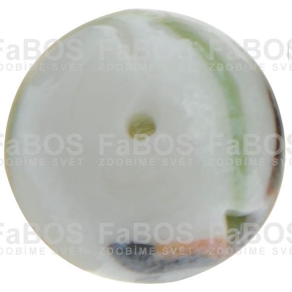Vinuté korálky Korálek vinutý bílo hnědá kulička - FaBOS