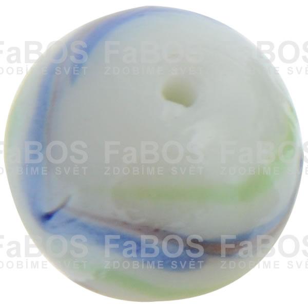 Vinuté korálky Korálek vinutý bílo modrá kulička - FaBOS