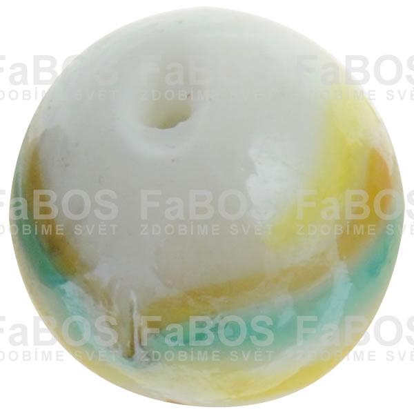 Vinuté korálky Korálek vinutý bílo žlutá kulička - FaBOS